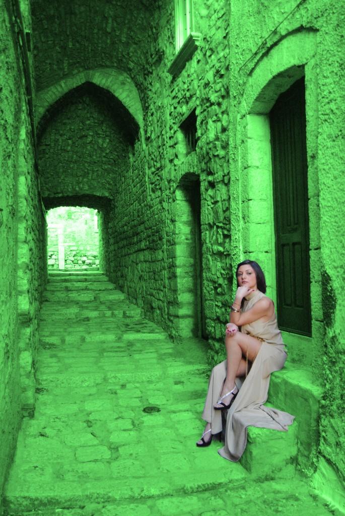 vestito panna verde